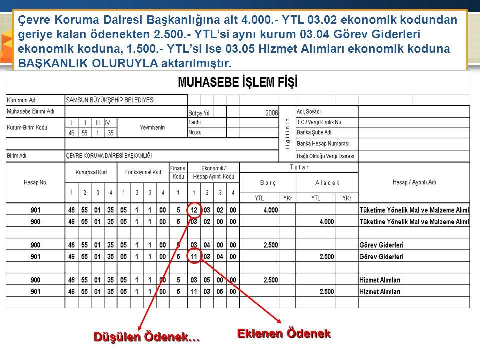 Çevre Koruma Dairesi Başkanlığına ait 4. 000. - YTL 03