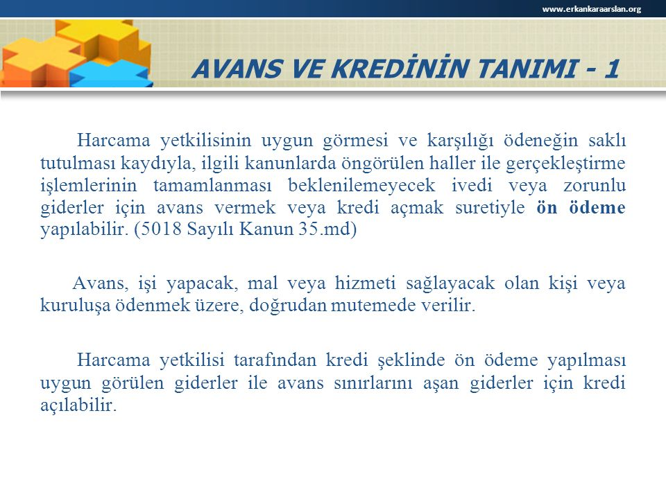AVANS VE KREDİNİN TANIMI - 1