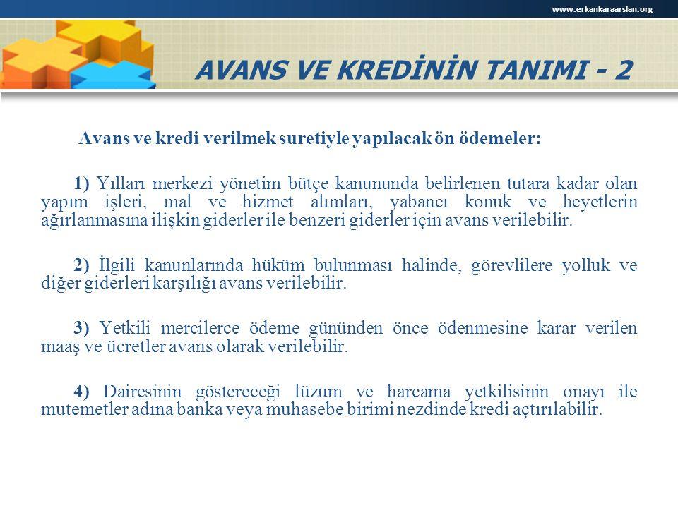 AVANS VE KREDİNİN TANIMI - 2
