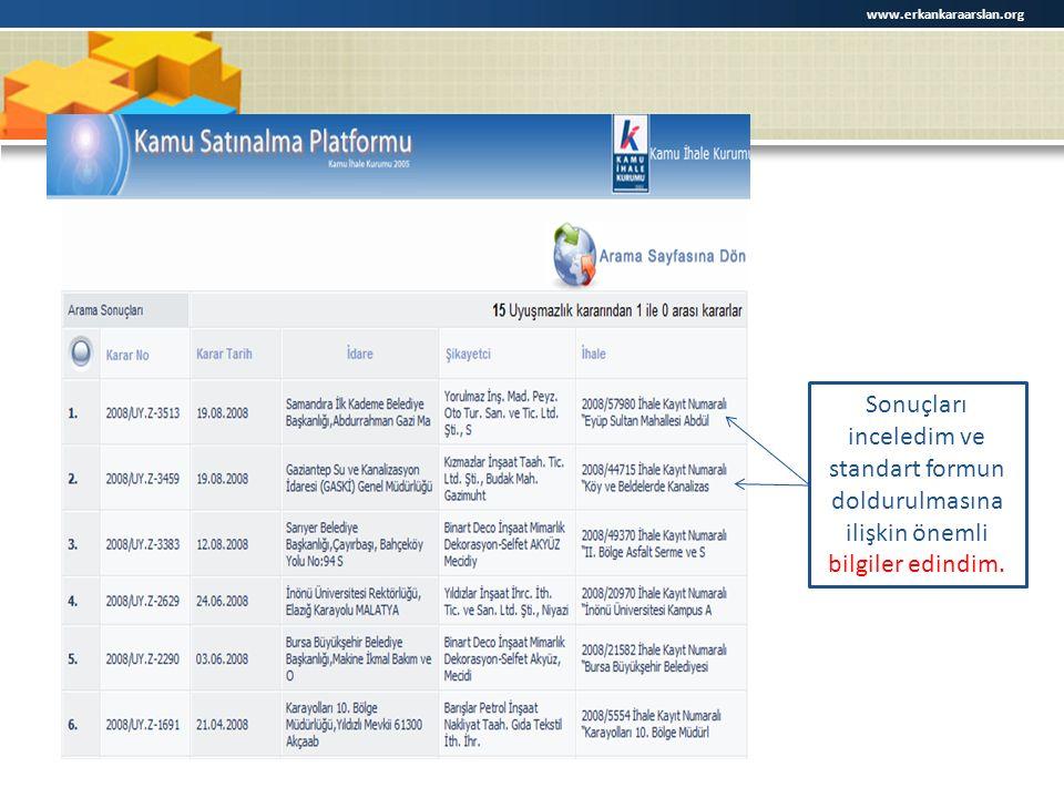 www.erkankaraarslan.org Sonuçları inceledim ve standart formun doldurulmasına ilişkin önemli bilgiler edindim.