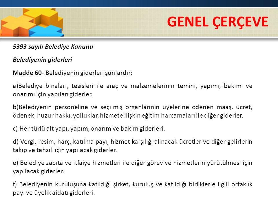 GENEL ÇERÇEVE 5393 sayılı Belediye Kanunu Belediyenin giderleri