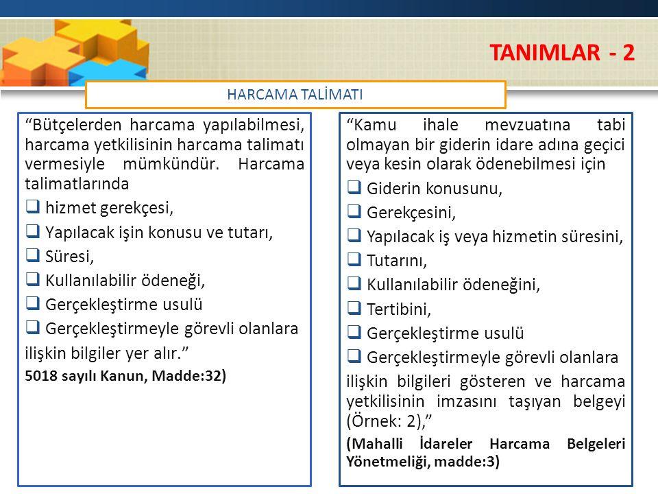 TANIMLAR - 2 HARCAMA TALİMATI.