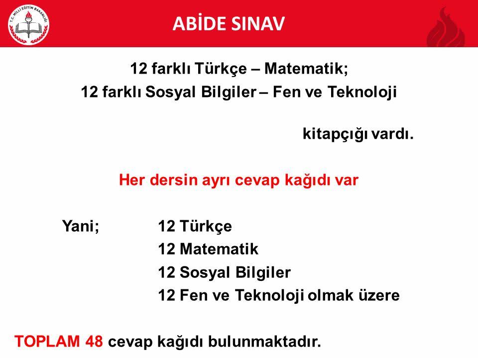ABİDE ABİDE SINAV 12 farklı Türkçe – Matematik;