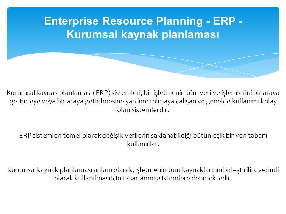 Enterprise Resource Planning - ERP - Kurumsal kaynak planlaması
