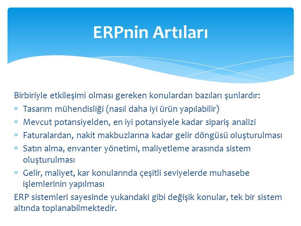 ERPnin Artıları Birbiriyle etkileşimi olması gereken konulardan bazıları şunlardır: Tasarım mühendisliği (nasıl daha iyi ürün yapılabilir)