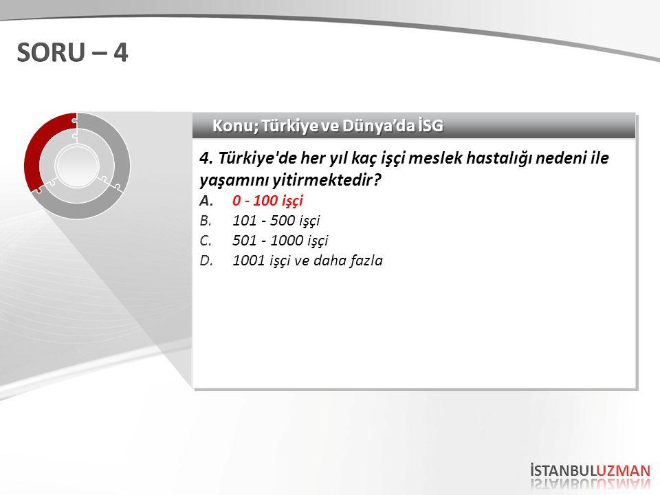 SORU – 4 Konu; Türkiye ve Dünya'da İSG