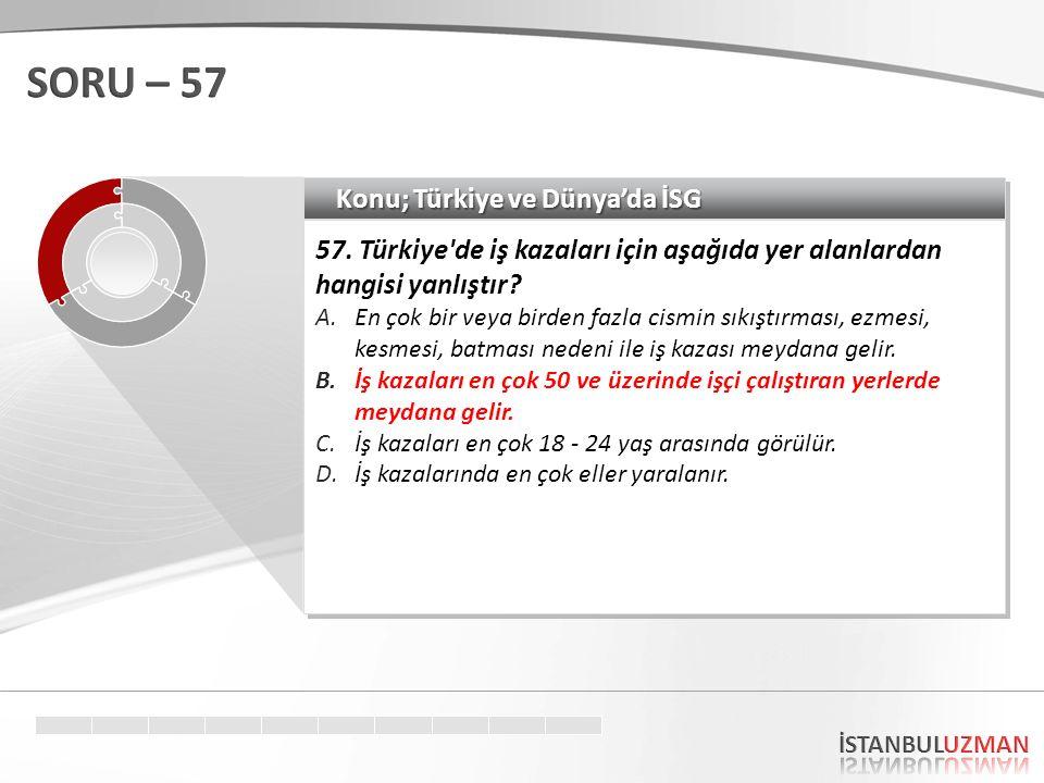 SORU – 57 Konu; Türkiye ve Dünya'da İSG