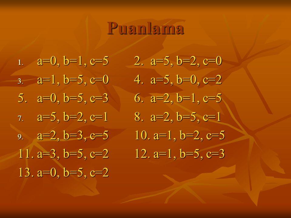 Puanlama a=0, b=1, c=5 2. a=5, b=2, c=0 a=1, b=5, c=0 4. a=5, b=0, c=2