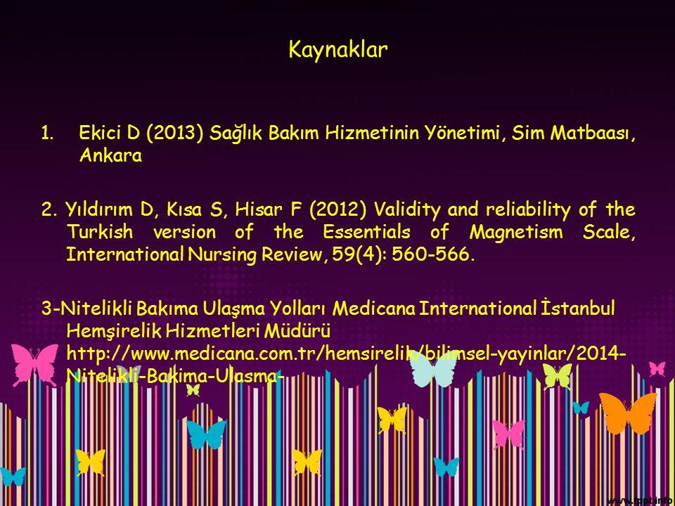 Kaynaklar Ekici D (2013) Sağlık Bakım Hizmetinin Yönetimi, Sim Matbaası, Ankara.