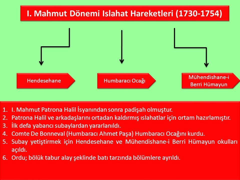 I. Mahmut Dönemi Islahat Hareketleri (1730-1754)