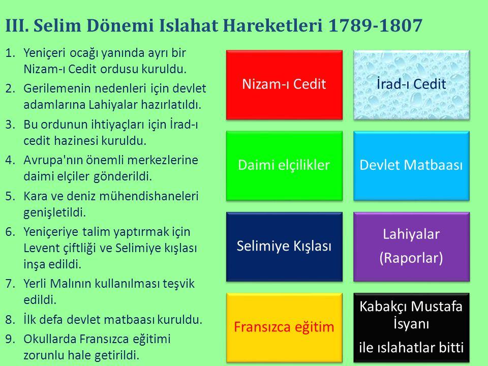 III. Selim Dönemi Islahat Hareketleri 1789-1807