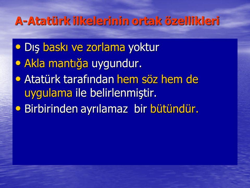 A-Atatürk ilkelerinin ortak özellikleri