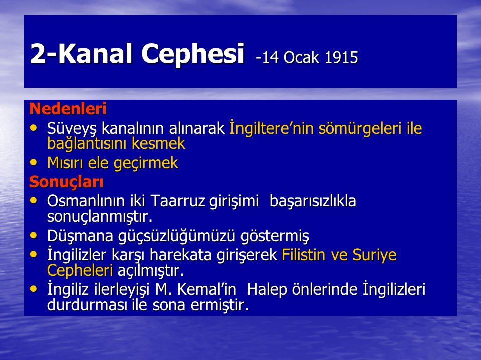 2-Kanal Cephesi -14 Ocak 1915 Nedenleri