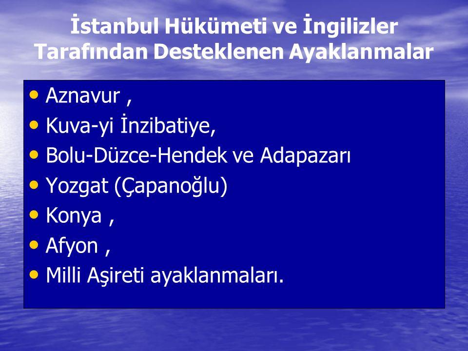 İstanbul Hükümeti ve İngilizler Tarafından Desteklenen Ayaklanmalar