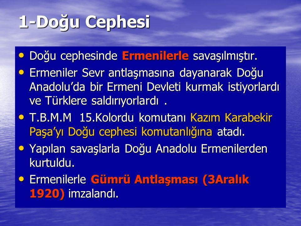1-Doğu Cephesi Doğu cephesinde Ermenilerle savaşılmıştır.