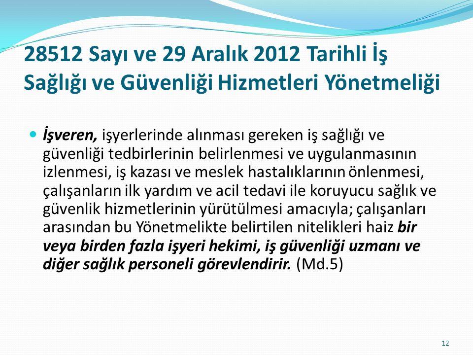 28512 Sayı ve 29 Aralık 2012 Tarihli İş Sağlığı ve Güvenliği Hizmetleri Yönetmeliği
