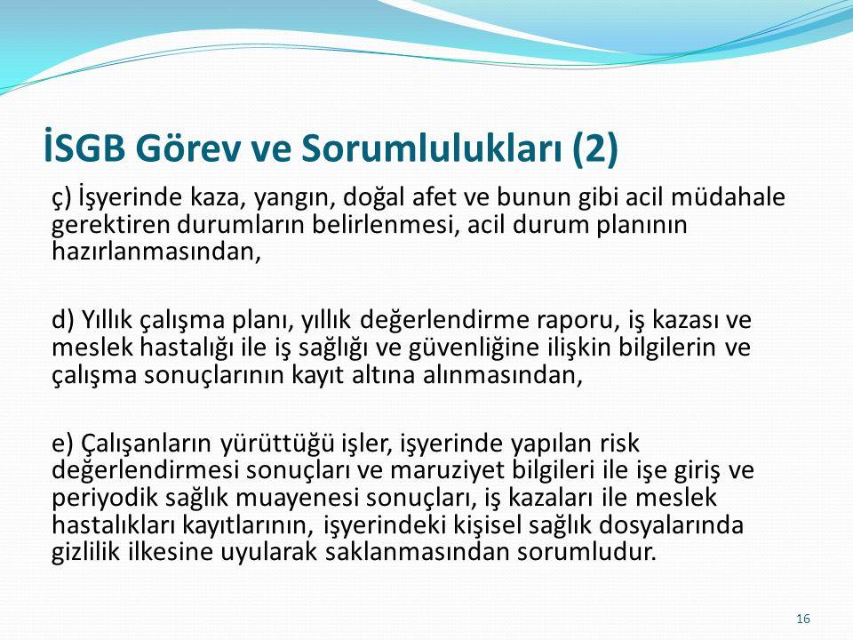 İSGB Görev ve Sorumlulukları (2)