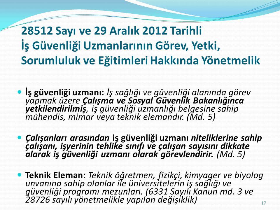 28512 Sayı ve 29 Aralık 2012 Tarihli İş Güvenliği Uzmanlarının Görev, Yetki, Sorumluluk ve Eğitimleri Hakkında Yönetmelik