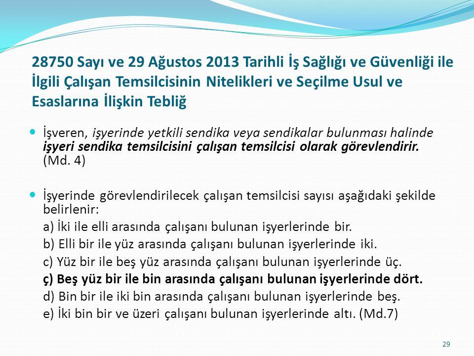 28750 Sayı ve 29 Ağustos 2013 Tarihli İş Sağlığı ve Güvenliği ile İlgili Çalışan Temsilcisinin Nitelikleri ve Seçilme Usul ve Esaslarına İlişkin Tebliğ