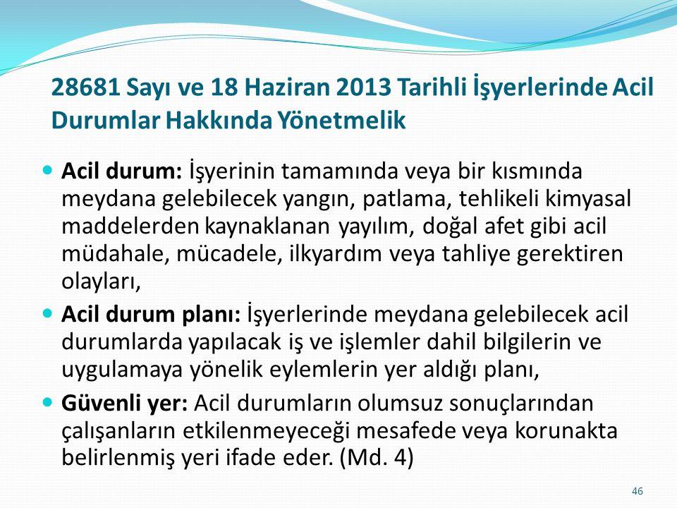 28681 Sayı ve 18 Haziran 2013 Tarihli İşyerlerinde Acil Durumlar Hakkında Yönetmelik