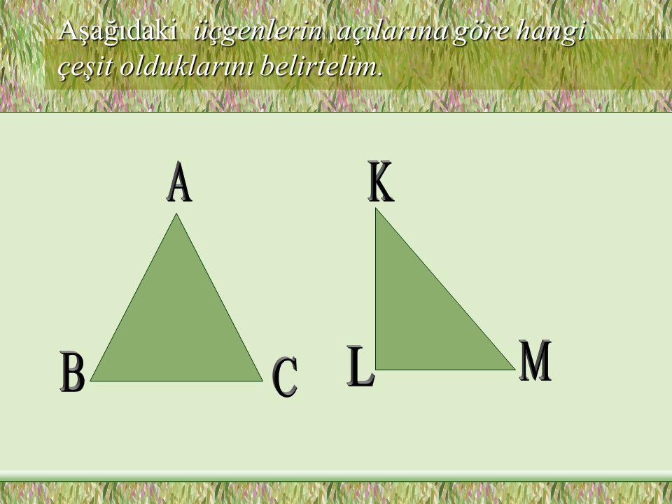 Aşağıdaki üçgenlerin ,açılarına göre hangi çeşit olduklarını belirtelim.
