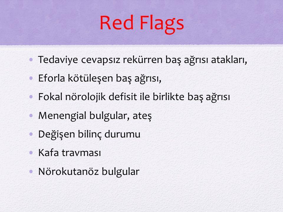 Red Flags Tedaviye cevapsız rekürren baş ağrısı atakları,