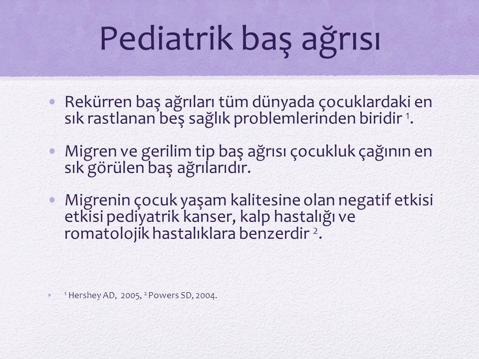 Pediatrik baş ağrısı Rekürren baş ağrıları tüm dünyada çocuklardaki en sık rastlanan beş sağlık problemlerinden biridir 1.