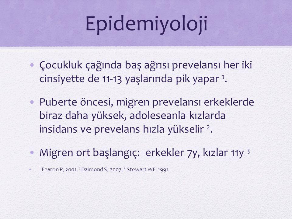 Epidemiyoloji Çocukluk çağında baş ağrısı prevelansı her iki cinsiyette de 11-13 yaşlarında pik yapar 1.