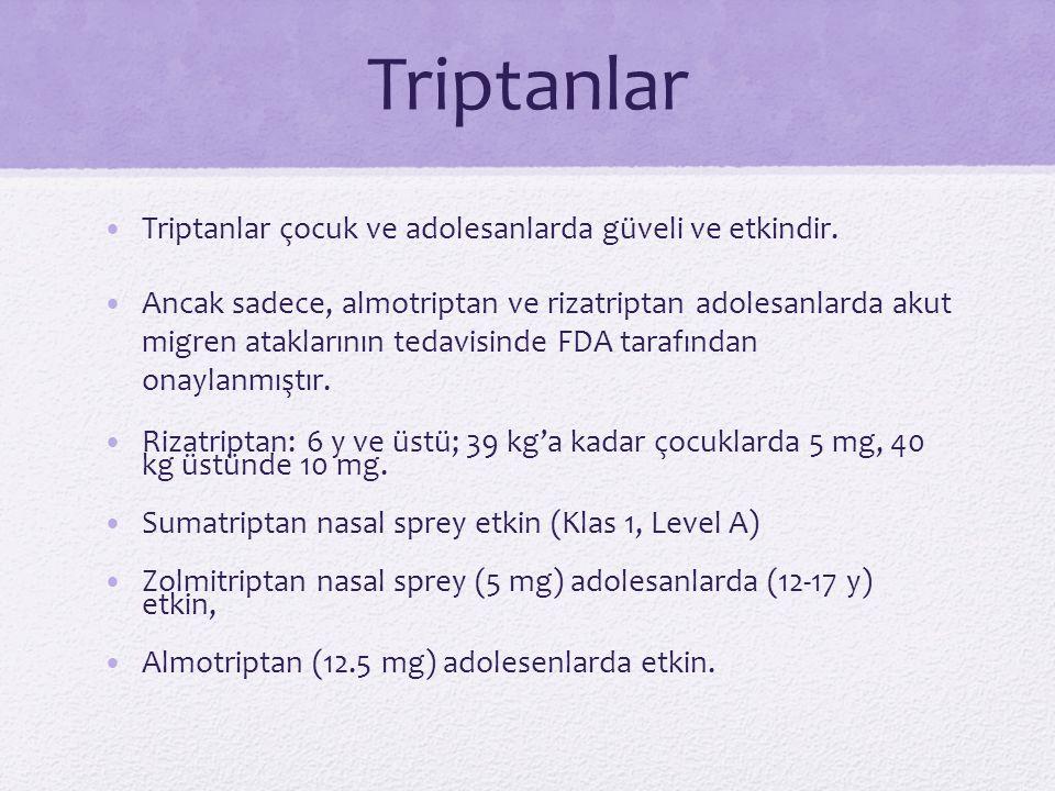 Triptanlar Triptanlar çocuk ve adolesanlarda güveli ve etkindir.