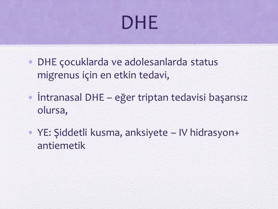 DHE DHE çocuklarda ve adolesanlarda status migrenus için en etkin tedavi, İntranasal DHE – eğer triptan tedavisi başarısız olursa,