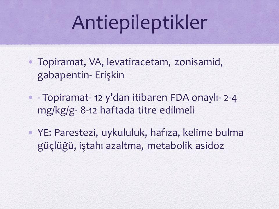 Antiepileptikler Topiramat, VA, levatiracetam, zonisamid, gabapentin- Erişkin.