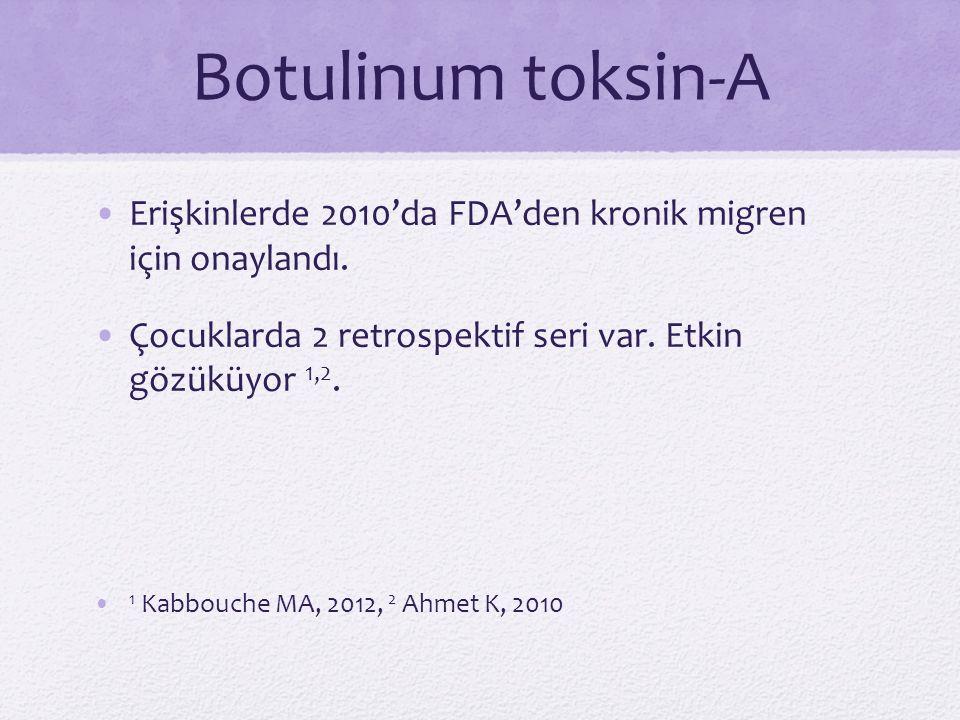 Botulinum toksin-A Erişkinlerde 2010'da FDA'den kronik migren için onaylandı. Çocuklarda 2 retrospektif seri var. Etkin gözüküyor 1,2.