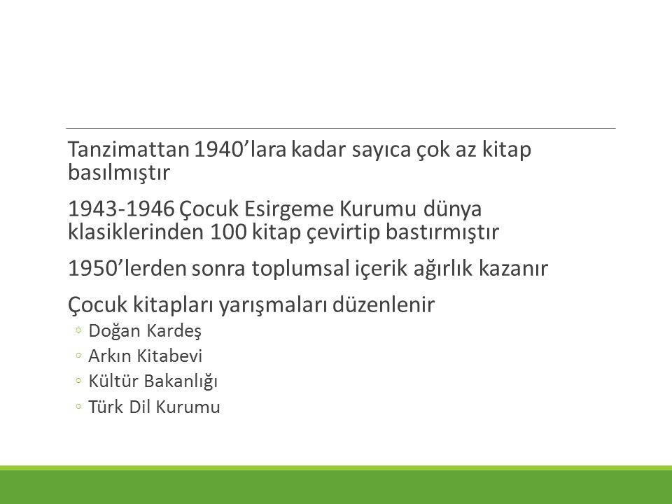 Tanzimattan 1940'lara kadar sayıca çok az kitap basılmıştır