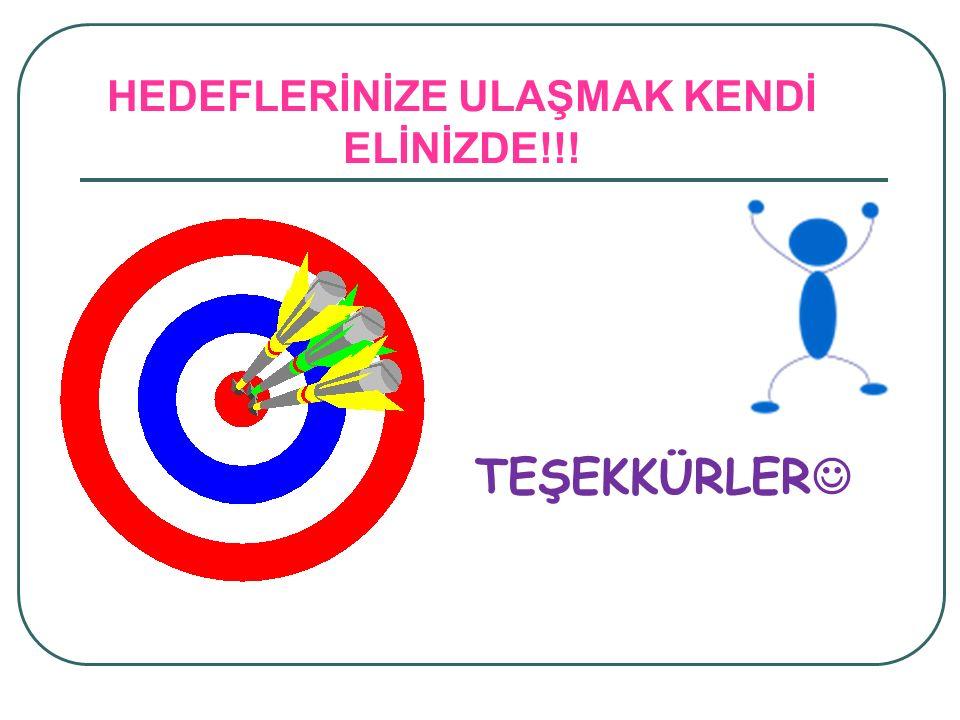 HEDEFLERİNİZE ULAŞMAK KENDİ ELİNİZDE!!!