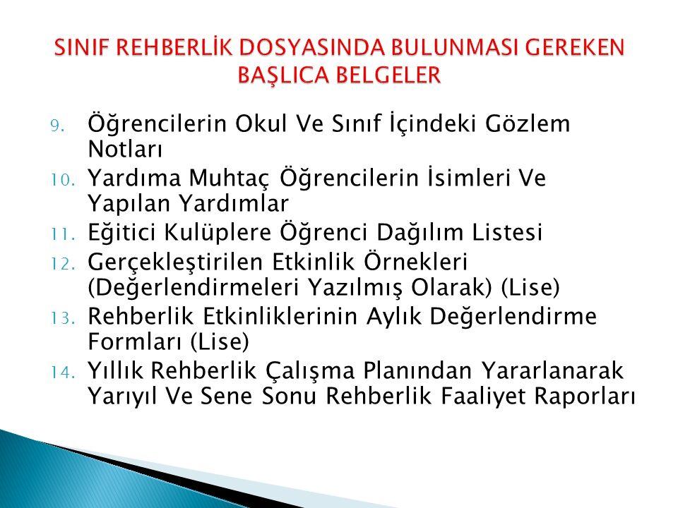 SINIF REHBERLİK DOSYASINDA BULUNMASI GEREKEN BAŞLICA BELGELER