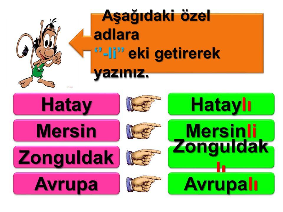 Hatay Hataylı Mersin Mersinli Zonguldak Zonguldaklı Avrupa Avrupalı