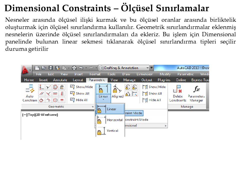 Dimensional Constraints – Ölçüsel Sınırlamalar
