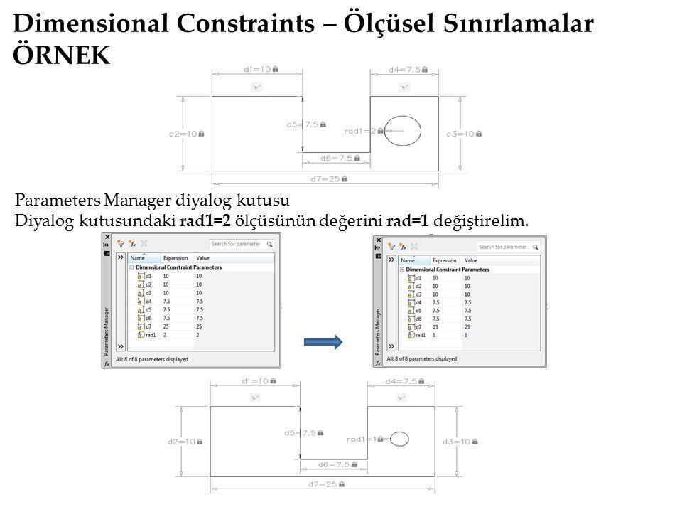 Dimensional Constraints – Ölçüsel Sınırlamalar ÖRNEK