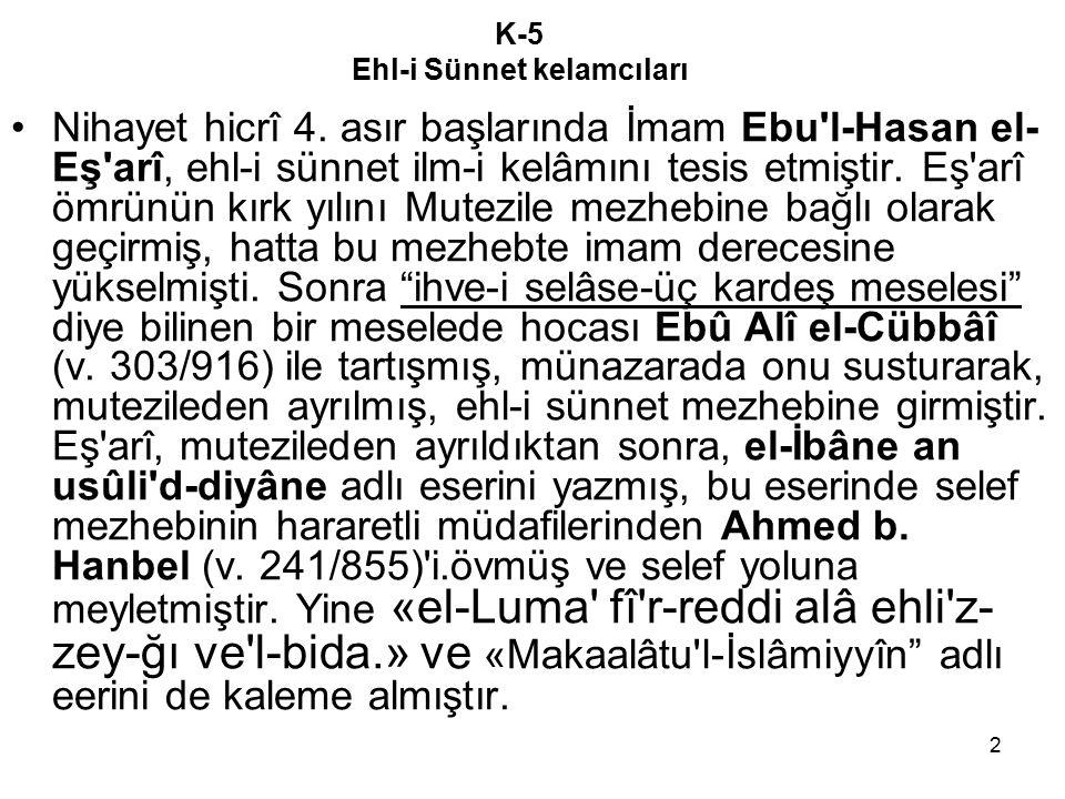 K-5 Ehl-i Sünnet kelamcıları