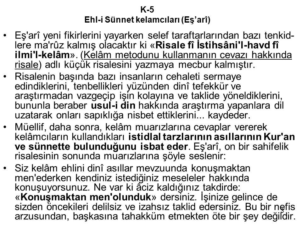 K-5 Ehl-i Sünnet kelamcıları (Eş'arî)