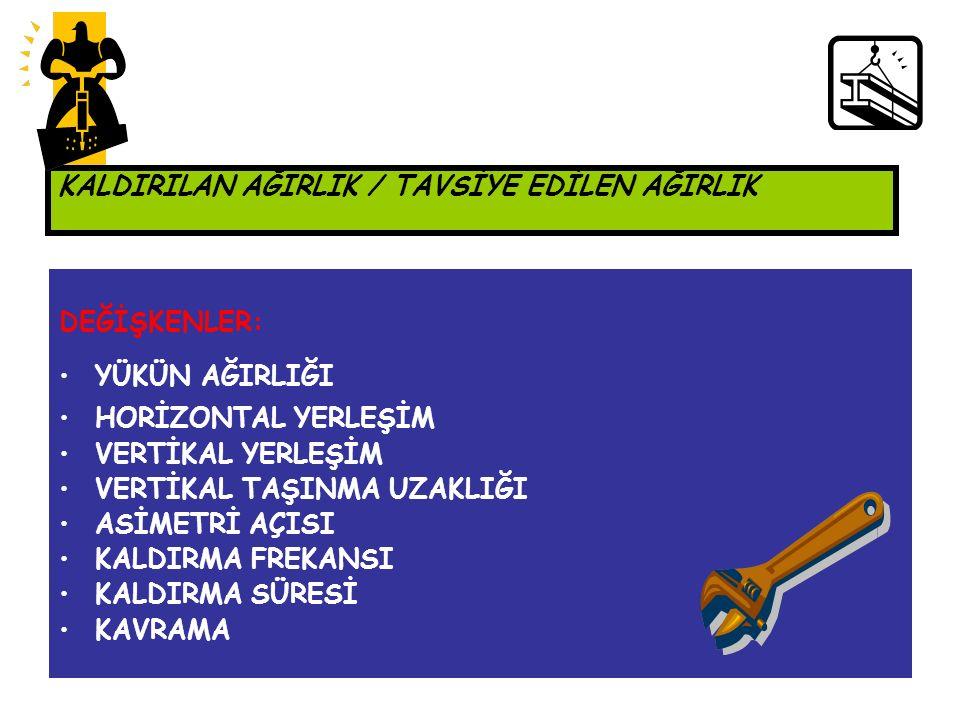 KALDIRMA İNDEKSİ KALDIRILAN AĞIRLIK / TAVSİYE EDİLEN AĞIRLIK