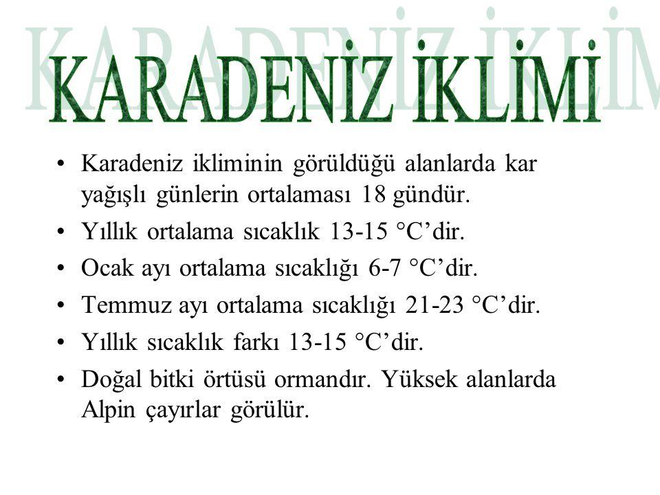 KARADENİZ İKLİMİ Karadeniz ikliminin görüldüğü alanlarda kar yağışlı günlerin ortalaması 18 gündür.