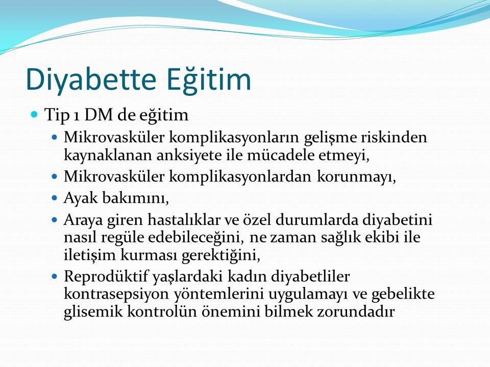 Diyabette Eğitim Tip 1 DM de eğitim