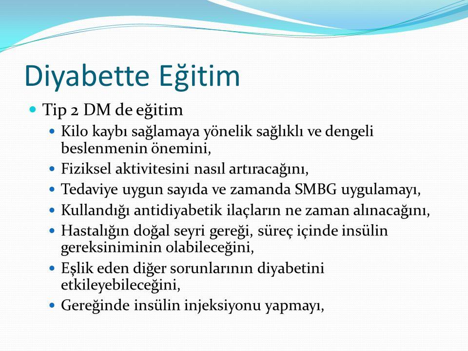 Diyabette Eğitim Tip 2 DM de eğitim