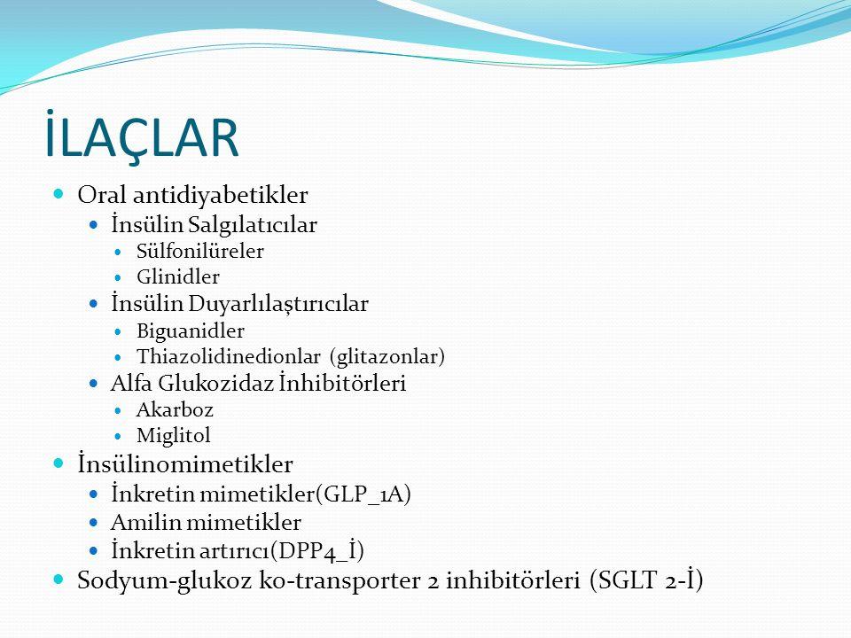 İLAÇLAR Oral antidiyabetikler İnsülinomimetikler