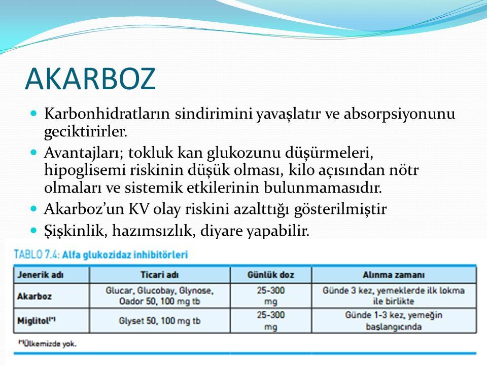 AKARBOZ Karbonhidratların sindirimini yavaşlatır ve absorpsiyonunu geciktirirler.