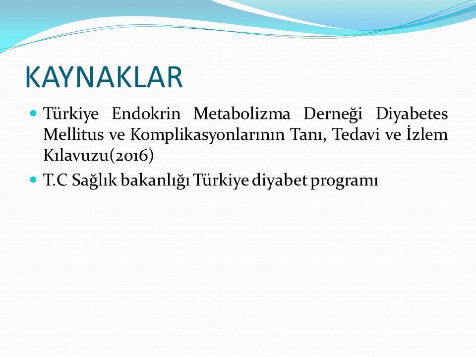 KAYNAKLAR Türkiye Endokrin Metabolizma Derneği Diyabetes Mellitus ve Komplikasyonlarının Tanı, Tedavi ve İzlem Kılavuzu(2016)