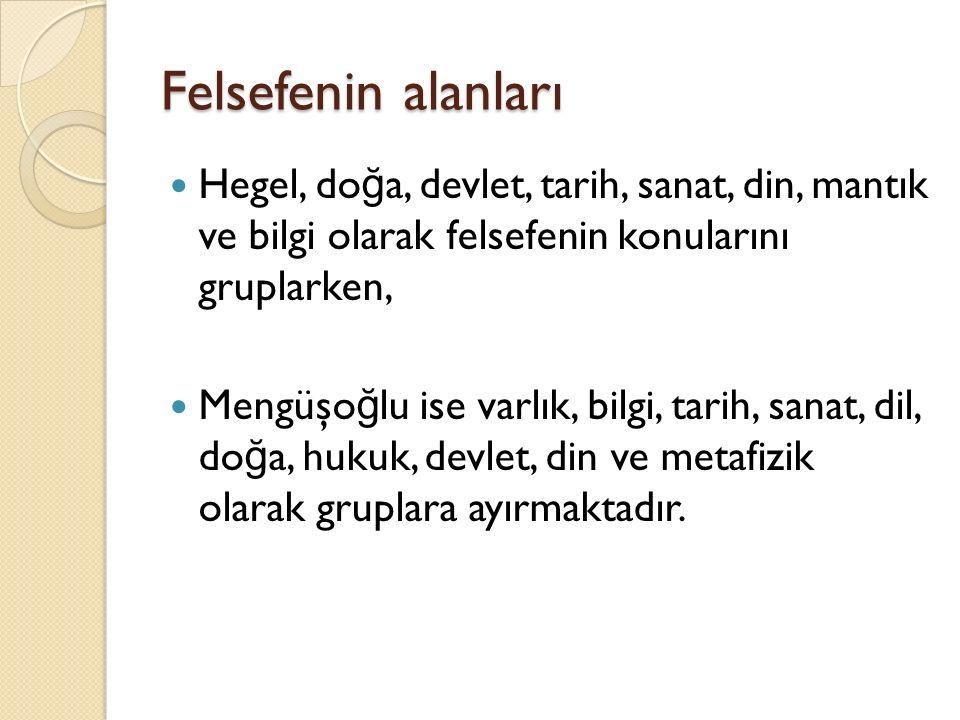 Felsefenin alanları Hegel, doğa, devlet, tarih, sanat, din, mantık ve bilgi olarak felsefenin konularını gruplarken,
