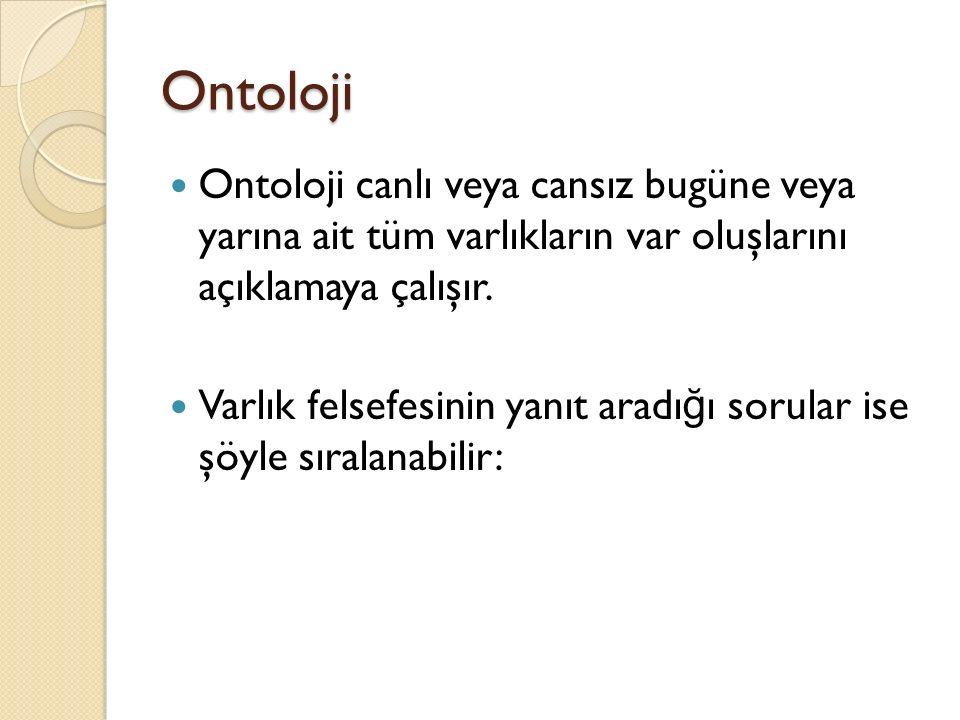 Ontoloji Ontoloji canlı veya cansız bugüne veya yarına ait tüm varlıkların var oluşlarını açıklamaya çalışır.