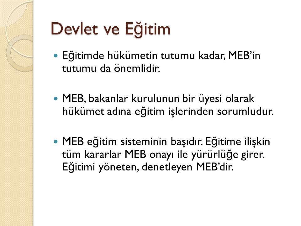 Devlet ve Eğitim Eğitimde hükümetin tutumu kadar, MEB'in tutumu da önemlidir.